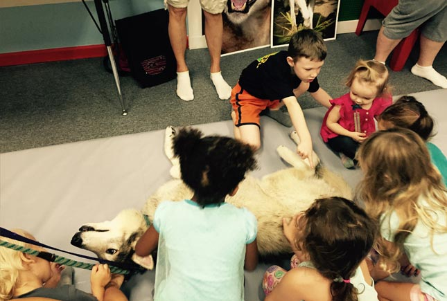 group of kids with wolf | Whiz Kids Play Zone & Party Place - Naples, Florida