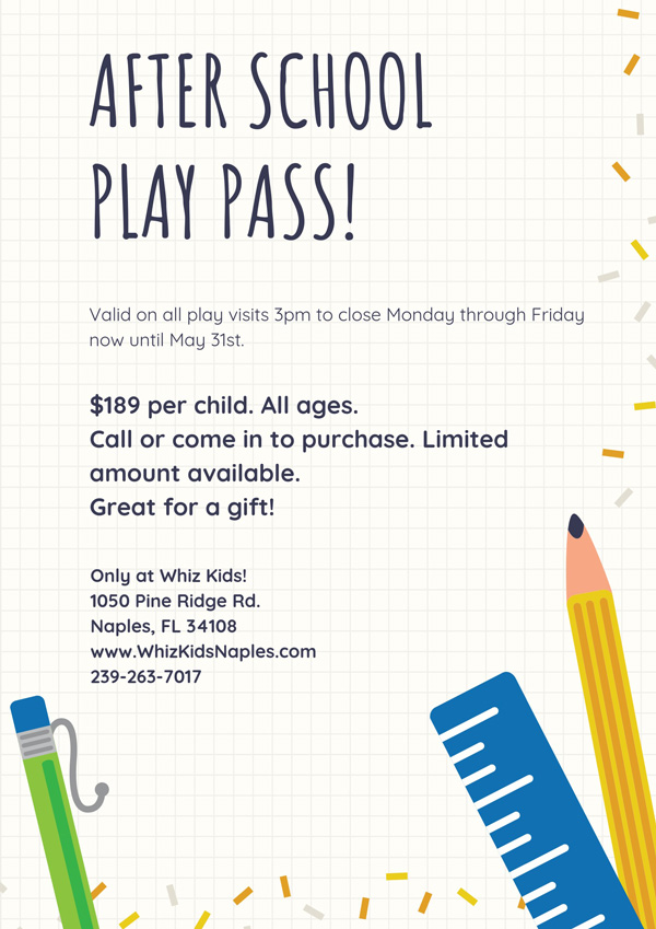 After School Play Pass - Whiz Kids Naples